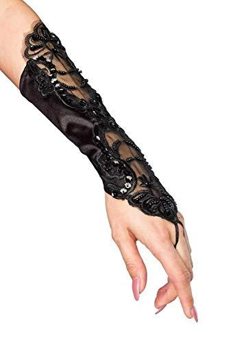 Handstulpen mit Stickerei und Perlen schwarz Hochzeit Braut Handschuhe Fingerlos