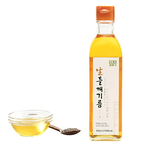 Korean Cold Pressed Premium Extra Virgin Pure Perilla Seed Cooking Oil 10.1 oz Rich Source of Omega 3, 6, 9