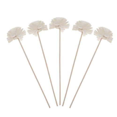 Healifty 5 piezas de difusor de láminas de mimbre de madera con cabeza de forma de flor fragancia natural difusor de láminas rectas aroma de aceite difusor de varillas para manualidades de bricolaje