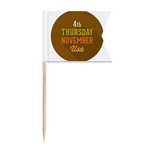 Garland Thanksgiving Day Circle Pattern Toothpick Flags Labeling Marking for Party Cake Food Cheeseplate