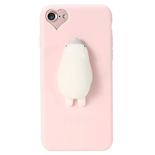 can't be satisfied Cat Case for iPhone 5s 5 SE 7 7 Plus 6 6s Plus Squishy Case Cute Silicon Cartoon Cat Cases for iPhone X 7 6 6s 5S Cover,Seal Pink,for 6 Plus 6s Plus