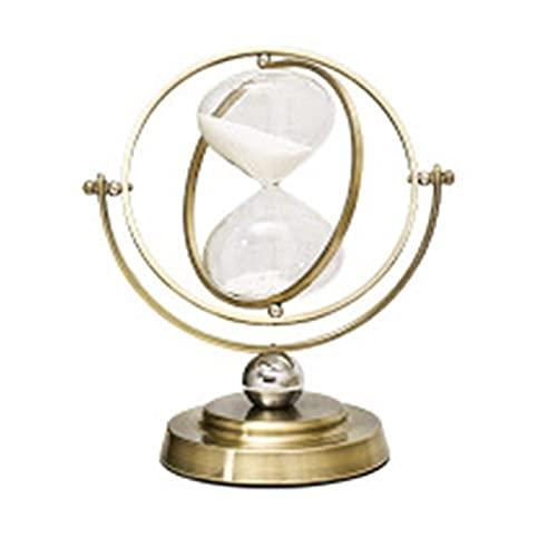 FHSMRING Reloj de arena giratorio de 30 minutos para reloj de arena de metal, hora de cristal, temporizador de arena para decoración del hogar vintage, temporizador de arena (color: cobre)