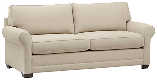 Amazon Brand – Stone & Beam Kristin Round Arm Performance Fabric Loveseat Sofa Couch, 88'W, Sand