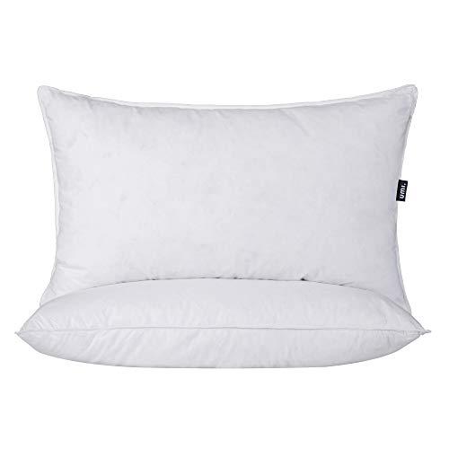 Amazon Brand - Umi Almohadas de Plumas y Plumón de Ganso Blanco de Firmeza Media Funda de Algodón 100%, 48x74cm, Juego de 2