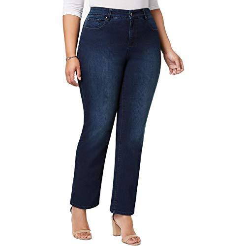 Charter Club Womens Plus Lexington Slimming Straight Leg Jeans Blue 22WP