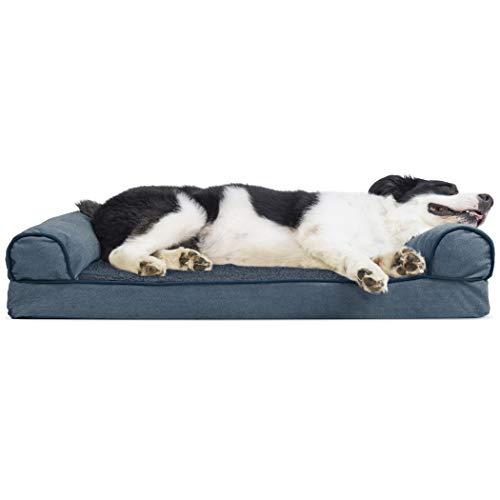 Furhaven Pet Faux Fleece & Chenille Soft Woven Cooling Gel Top Sofa Pet Bed, Large, Orion Blue