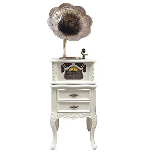 Weiß Plattenspieler, Vintage-Plattenspieler Retro Bluetooth Gramophone Lautsprecher, Vintage Wood Plattenspi Kupfer Horn Mit CD-Player /3.5Mm Aux-In/FM Radio/USB/Funk-Lautsprecher, Für Decor,A