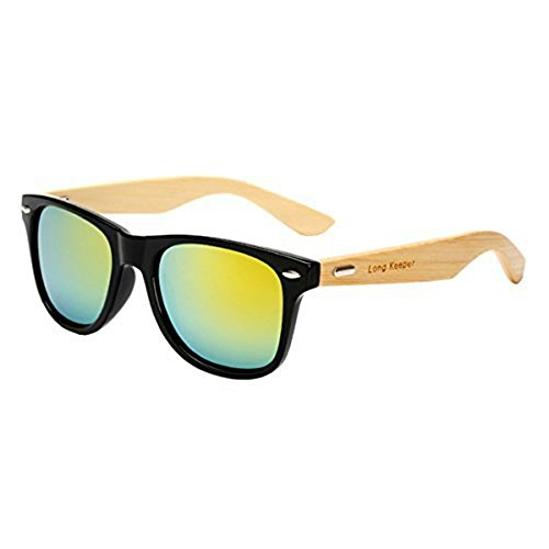 Long Keeper Bamboo Wood Arms Sunglasses for Women Men (Black, Blue)