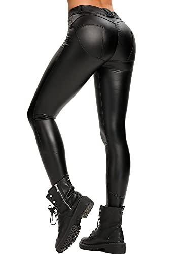 RIOJOY Leder Leggings Damen High Waist Lederhose Push Up Po Sexy Leggins aus Kunstleder, Schwarz 36/38