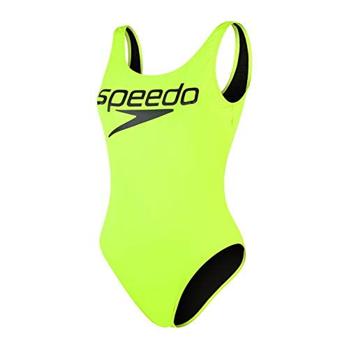 Speedo Damen Logo Deep U-Back 1 Piece Badeanzug, Gelb/Schwarz, 40 (DE 44)