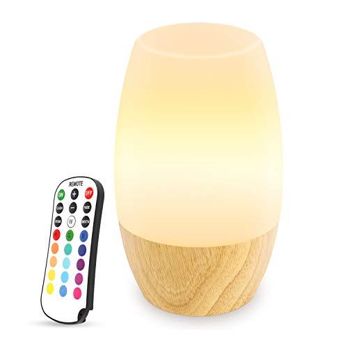 Nattlampa för barn, Danolt trä LED baby nattlampa med 2 st fjärrkontroll, 16 färger som ändras, ljusstyrkejustering, silikon amning barnkammare nattlampa för barnrum sovrum, UK plugg.