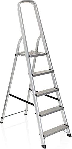 Escalera de Aluminio Plegable multifunción Antideslizante, Ligera y Resistente (5 Peldaños)