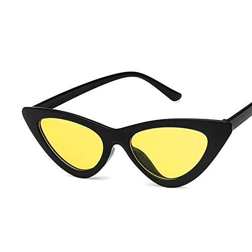 NXMRN Gafas De Sol Gafas De Sol Triangulares De Ojo De Gato A La Moda, Gafas De Sol Con Forma De Ojo De Gato, Gafas De Sol Para Mujer Y Mujer, Uv400-C5 Amarillo