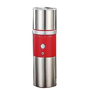 Molinillo de café eléctrico portátil, cafetera expreso portátil, mini cafetera de acero para casa, oficina, viaje, camping y senderismo, grosor de café ajustable (rojo)