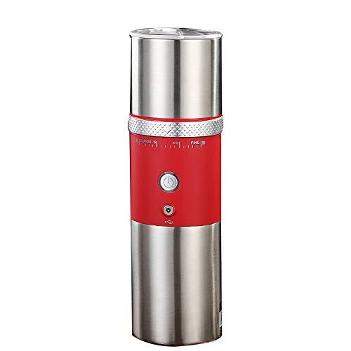 Moulin à café Cafetière électrique portable,Machine expresso portable,Mini Machine à café en Acier pour Domicile Bureau Voyage Camping et Randonnée,Épaisseur de café réglable. (Rouge)