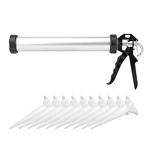 Pistola selladora,con 10 boquillas,cuerpo de aluminio cerrado,adecuada para cartuchos de 600 ml y bolsas de recarga,para adhesivos y selladores,protección de abrazadera integrada,pistola de aplicación