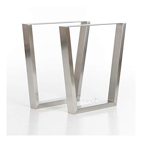Tischgestell V-Form modern I 70 x 30 mm Profil I hochwertiger Edelstahl gebürstet I 72 cm hoch I Indoor & Outdoor I Untergestell für Ess-, Schreib-, Gartentisch etc. I 1 Paar (2 Stück)