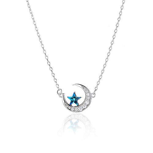 July Sunny Collar de joyería para Mujer 925 Silver Star Month Fashion Clavicle Chain Tide Pure Regalos Originales para Mujer, Regalo de San Valentin, Delicadas Joyero, Libre de Alergias