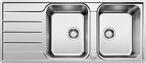 BLANCO LEMIS 8 S-IF – Doppelspüle für die Küche für 80 cm breite Unterschränke – Edelstahl – Mit IF-Flachrand – 523037
