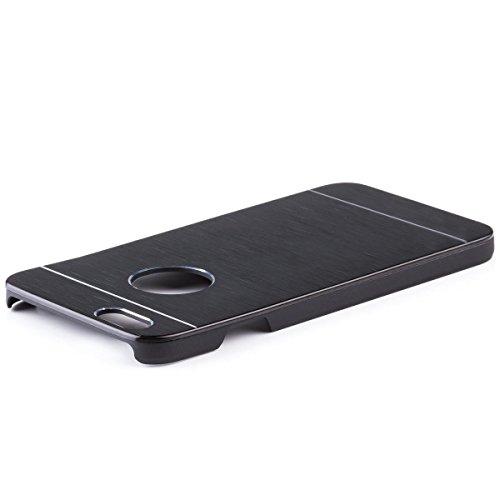 iCues Apple iPhone 6S / 6 ALU Case Cepillado Negro | [Protector de Pantalla Incluido] Piel CNC Metal de Aluminio metálico de protección Protección Cubierta Cubierta Funda Carcasa Bolsa Cover C