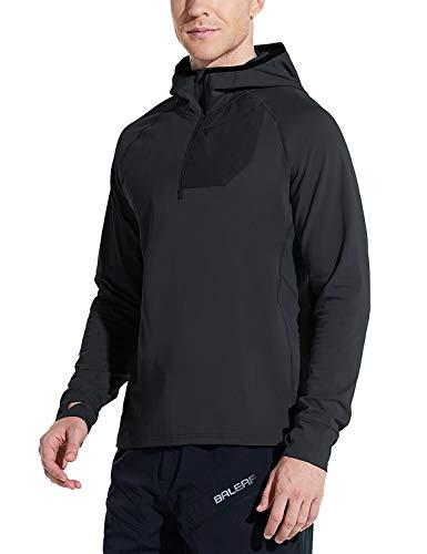 BALEAF Men's Running Pullover Shirts Warm Thermal Half Zip Hoddies Pullovers with Zipper Pocket Hiking Cycling Black XXL