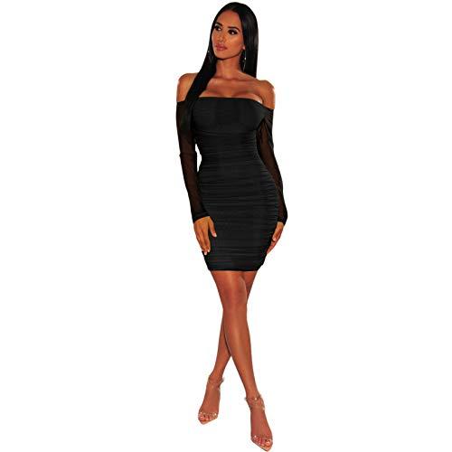 CJJCJJ Vestidos Ajustados de Fiesta Sexis para Mujer minivestidos Ajustados de Malla con Hombros Descubiertos de otoño para Mujer Falda Corta para Mujer
