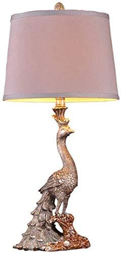 DJSMtd - Lámpara de mesa clásica europea de Peacock, de tela con sombra clara, de resina, para salón, dormitorio, lámpara de mesa de noche, decoración decorativa E27