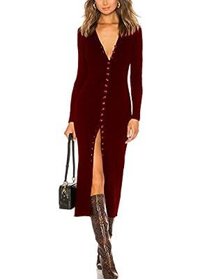 CMZ2005 Women's Button Down Long Sleeve Sweater Dress Bodycon Party Maxi Dress 6088