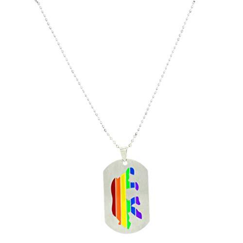 Amosfun LGBT Gay Lesbianas Orgullo Collares en Forma de Oso Polar de Acero de Titanio Hoja del Arco Iris Colgante LGBT relación Arco Iris joyería Regalos para Hombres Mujeres