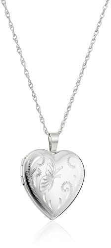 Sterling Silver Heart with Hand Engraved Butterfly Locket Necklace, 18