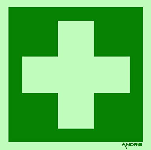 Rettungszeichen Symbolschild Erste Hilfe ISO Soft Kunststoff nachleuchtend & selbstklebend 150x150mm Orig. ANDRIS®-Piktogramm