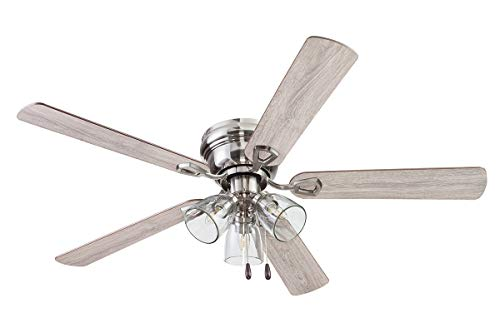 """Portage Bay Ceiling 52"""" Renton Brushed Nickel Indoor Fan with Clear 3 Light LED Multi Arm E26/B11 Bulb and Pull-Chains, Traditional Style, 5 Reversible Gray Oak/Walnut Blades, 51440"""