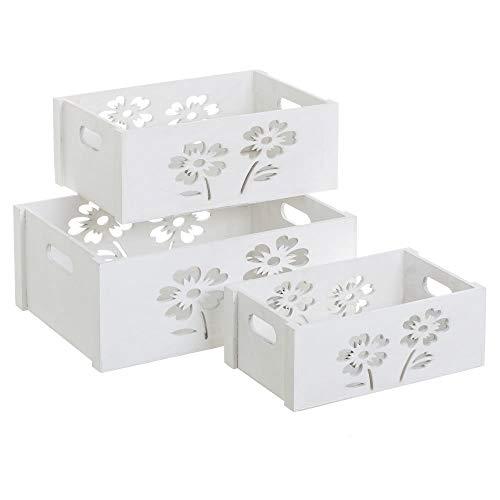 Set de Cajas de Flores de Madera Blanco romántico para decoración Vitta - LOLAhome