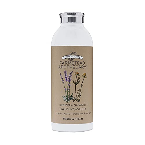 Farmstead Apothecary 100% Natural Baby Powder with Organic Tapioca Starch, Organic Chamomile Flowers, Organic Calendula Flowers, Lavender & Chamomile 4 oz (4 Ounce (Pack of 1))
