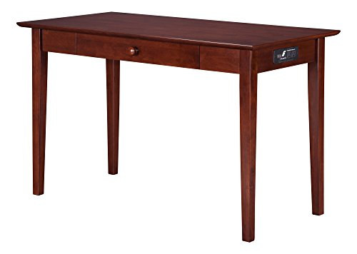 Atlantic Furniture Shaker Desk with Drawer and Charging Station, Walnut
