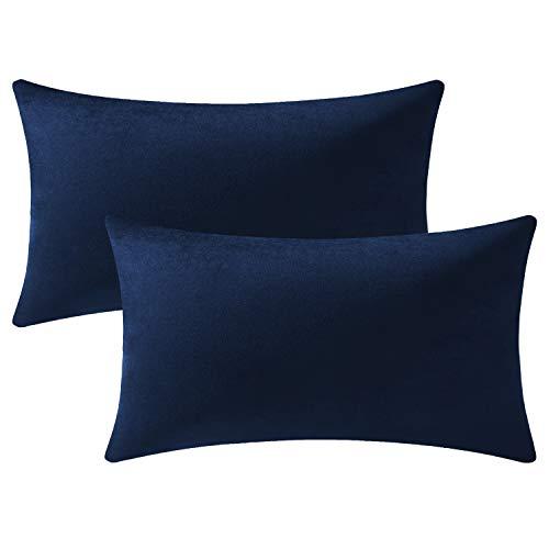 DEZENE Fodere per Cuscino Navy 40 cm x 60 cm: Fodere per Cuscino Decorative Rettangolari in Velluto Morbido da 2 Pezzi per Divano da Fattoria