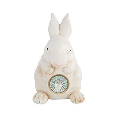 "HOMESHINE Rabbit Statues with Solar Powered Garden Light 8"" Height Outdoor Decor White"