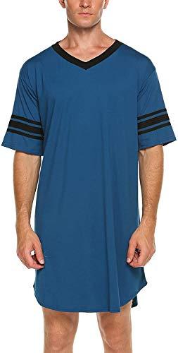Nachthemd Herren Kurzarm Schlafanzug Nachtwäsche Herrennachthemd Knielang Pyjama Schlafkleid Sommer Männer (Blau2, L)