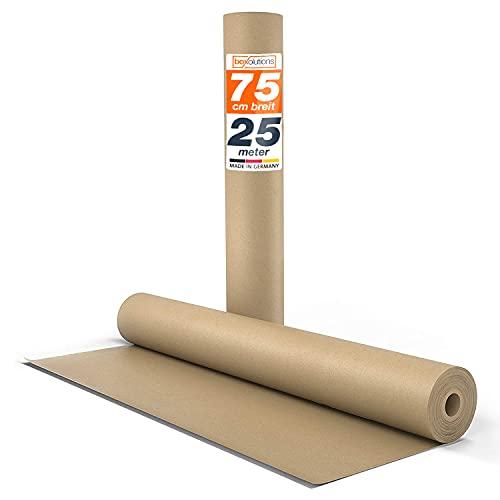 Kraftpapier braunes Papier 0,75m x 25m - Natürliches Geschenkpapier - Papierrolle 25m lang - Geschenkpapier braun - Ideales Paketpapier, Verpackungspapier für Umzug - Packpapier natur -