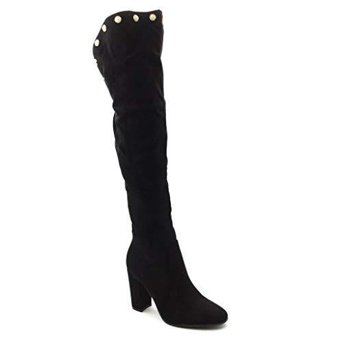 Angkorly - Zapatillas de Moda Botas Altas Cavalier Sexy Flexible Mujer Perla Dorado Talón Tacón Ancho Alto 10 CM - Plantilla Forrada de Piel - Negro 8189-30 T 39