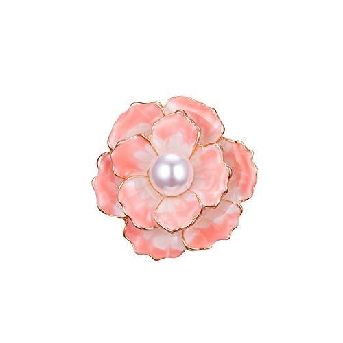 Broches de flor de camelia esmaltados para mujer, color rosa, abrigo de...