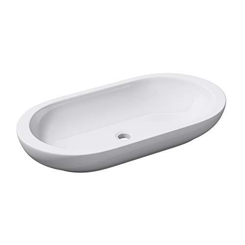 Sogood Lavabo vasque à poser blanc 80cm lave main Bruxelles5057 80x42,5x12cm