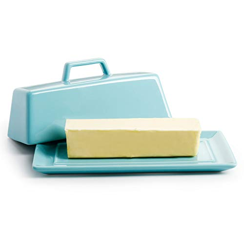Porcelain Butter Dish with Lid Covered Butter Keeper - Handle Design - Dishwasher Safe Turquoise - Better Butter Beyond