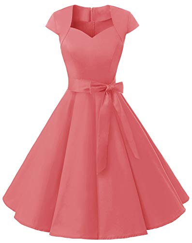 MUADRESS 1960 Women's Retro 1950s Cap Sleeve Vintage Rockabilly Cocktail Swing Dress Coral Large