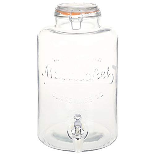 Festnight Dispensador de Agua XXL con Grifo Vidrio Transparente 8 L / 18,7 x 36 cm, contenedor de Vidrio, Dispensador de Cristal