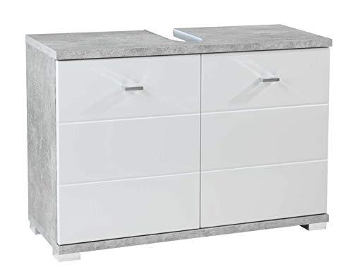 Waschbeckenunterschrank Waschtischkombination | Dekor | Betonoptik | Weiß | 2 Türen