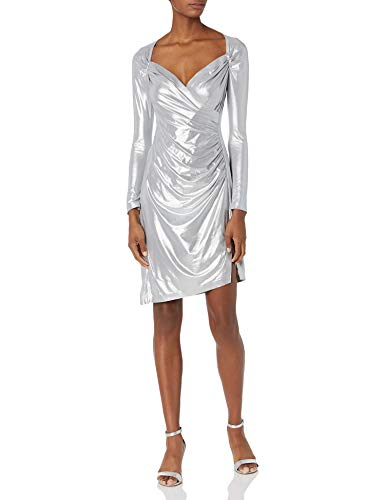 Norma Kamali Damen Long Sleeve Sweetheart Side Drape Dress to Knee Cocktailkleid, Silber, 70