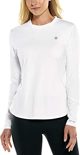 Coolibar UPF 50+ Women's Long Sleeve Match Point Tee - Sun Protective (X-Large- White)