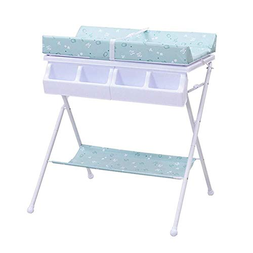 Commode Commode 2 in 1 for Luier, Folding Dresser Station Unit opslag Portable Nursery Organizer Baby wieg (Color : Blue)