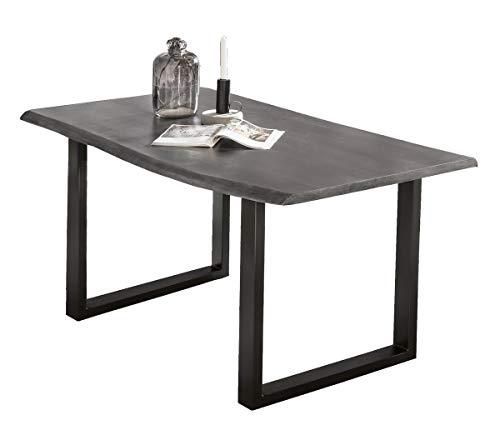 SIT-Möbel Table de Bar 200 x 100 cm, Plateau Gris Vieilli, Armature Noire Plateau acacacia, Structure Acier L = 200 x l = 100 x H = 77 cm, Plateau Gris Vieilli laqué Noir